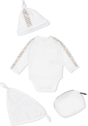 BURBERRY KIDS Check Detail Cotton Three-piece Baby Gift Set