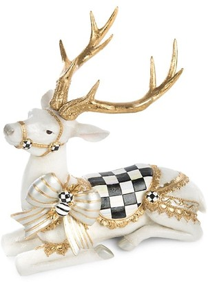 Mackenzie Childs Resting White Bow Deer Figurine