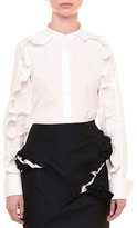 Jil Sander Ruffled Long-Sleeve Button-Front Blouse, White