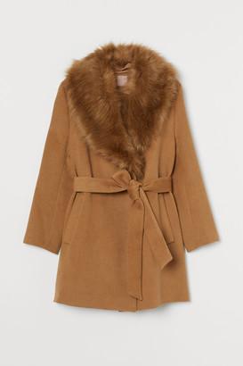 H&M H&M+ Faux Fur-collared Coat