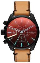 Diesel R) MS9 Chronograph Leather Strap Watch, 47mm