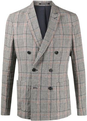 Emporio Armani Plaid Double-Breasted Suit Jacket