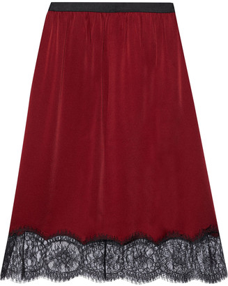 Joseph Ward Chantilly Lace-trimmed Satin-crepe Skirt