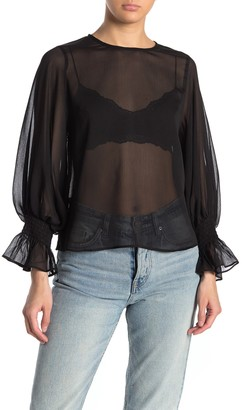Know One Cares Long Sleeve Sheer Woven Top