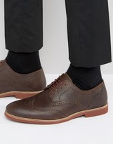 Red Tape Brogues In Brown Milled Leather