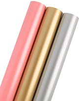LaRibbons Gift Wrapping Paper - 75 sq ft. - Solid Matte Pink/Silve/Golden - Sold 3Pcs