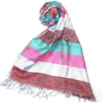 Women Silk Pashmina Scarf - Lovarzi Silver & Green Silk Scarves for ladies - Luxury gift for women