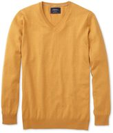 Charles Tyrwhitt Yellow Cotton Cashmere V-Neck Cotton/cashmere Sweater Size Large