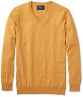 Charles Tyrwhitt Yellow Cotton Cashmere V-Neck Cotton/cashmere Sweater Size XXL