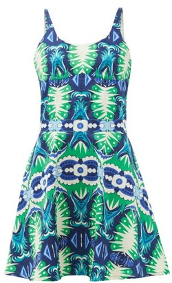 Le Sirenuse, Positano - Cindy Fish Tail-print Cotton-poplin Mini Dress - Green Print