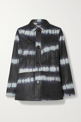 Sea Tilda Fringed Tie-dyed Leather Jacket - Navy
