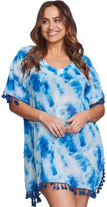 Plus Size Mazu Swim Tie-Dye Tassel Caftan Cover Up