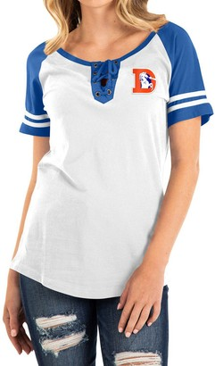 New Era Women's White/Royal Denver Broncos Historic Raglan Contrast Sleeve Lace-Up T-Shirt
