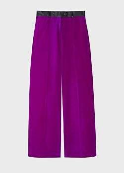 Paul Smith Women's Purple Parallel Leg Tuxedo Velvet Trousers With Satin Details