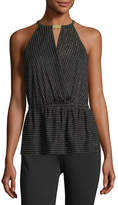 MICHAEL Michael Kors Crossover Halter Metallic Striped Top
