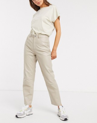 Selected high waisted leather trousers in stone