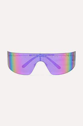 Stella McCartney Shield D-frame Stud-embellished Bio-acetate Mirrored Sunglasses - Purple