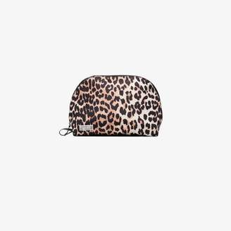 Ganni Womens Brown Leopard Print Pouch