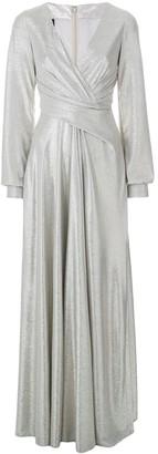 Talbot Runhof Metallic Pleated Gown