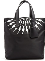Neil Barrett Lightning-bolt leather-trimmed nylon tote