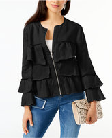 INC International Concepts Linen Ruffled Jacket, Created for Macy's