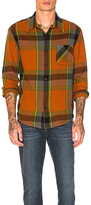 Frame Oversized Check Shirt Jacket in Orange. - size L (also in M,XL)