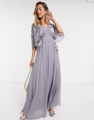 ASOS DESIGN blouson embroidered maxi dress with cape back