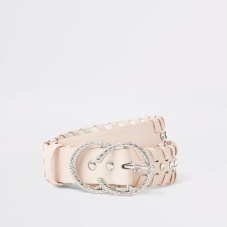 River Island Girls Pink diamante whip stitch belt