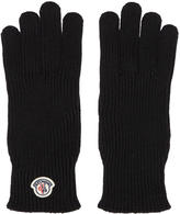 Moncler Black Wool Logo Gloves