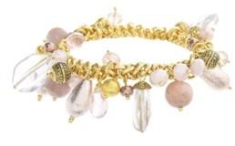 Catherine Malandrino Women's Pink Beaded Cluster Style Stretch Bracelet