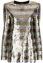 Balmain striped sequin top