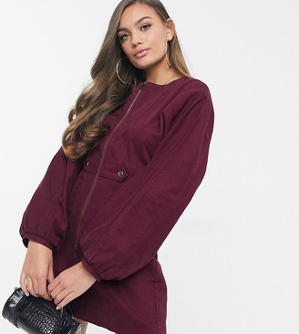 ASOS DESIGN Petite denim seamed mini dress with puff sleeve in burgundy