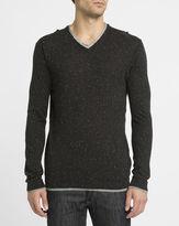 Eleven Paris Black Ruvi Speckled Double Collar Sweater