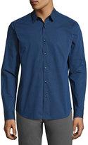Theory Zack Tonal Pinstripe Sport Shirt, Bright Blue