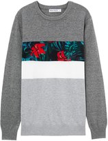 Meters/bonwe Men's Floral Print Color Block Pullover Knitted Sweater, M