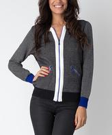 Yuka Paris Blue Solid-Back Zip-Up Jacket