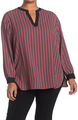 Anne Klein Carlyle Stripe Long Sleeve Split Neck Tunic