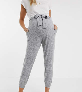 Asos DESIGN Maternity supersoft jogger with seam detail and tie waist-Grey