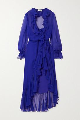Saint Laurent Ruffled Silk-chiffon Wrap Midi Dress - Blue