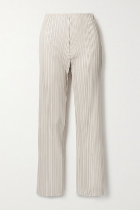 Nanushka Char Pleated Vegan Leather Straight-leg Pants - Off-white