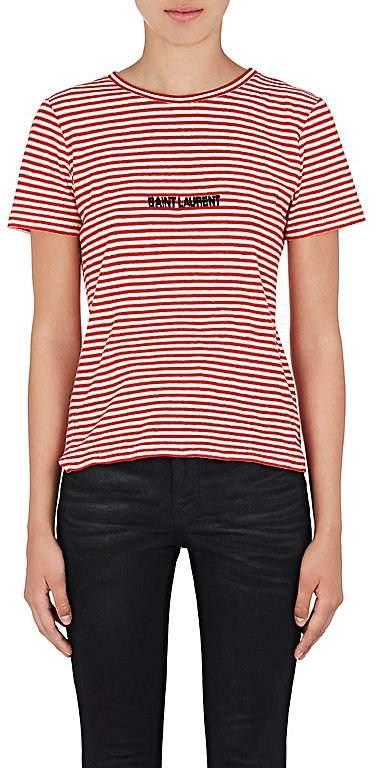 Saint Laurent Women's Logo Striped Cotton T-Shirt