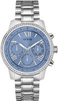 GUESS Women's Silver-Tone and Blue Feminine Classic Sport Watch