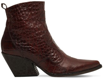 Elena Iachi 70mm Croc Embossed Leather Boots