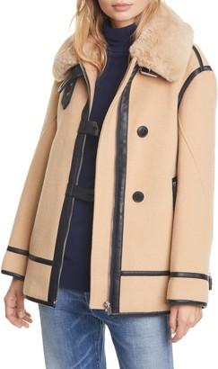 Club Monaco Wool Blend Moto Coat with Faux Fur Trim