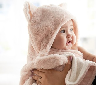 Pottery Barn Kids Faux Fur Kitty Baby Hooded Towel