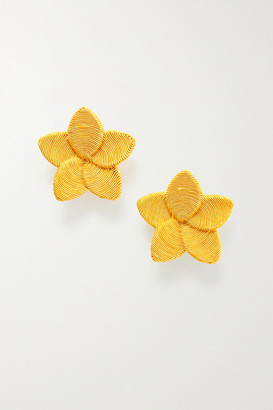 Rebecca De Ravenel Frangipani Gold-plated Cord Clip Earrings - Yellow