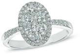 Zales 1 CT. T.W. Composite Oval Diamond Frame Engagement Ring in 14K White Gold