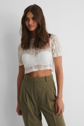 NA-KD Short Sleeve Lace Top
