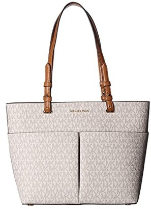 MICHAEL Michael Kors Bedford Medium Top Zip Pocket Tote (Vanilla/Acorn) Tote Handbags