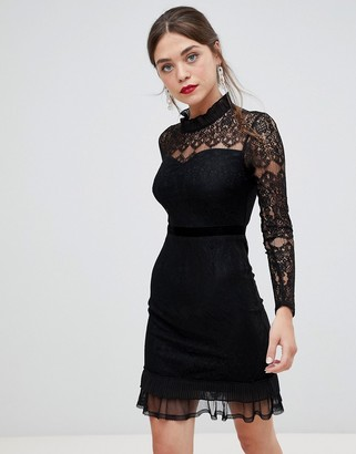 Frock and Frill high neck long sleeve lace dress with velvet piping